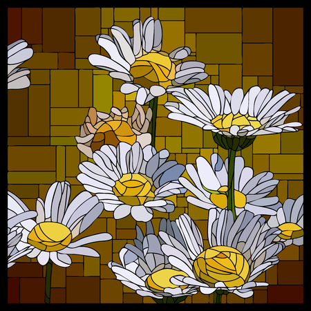 angular mosaic with blooming daisies stained-glass window frame. Stock Illustratie