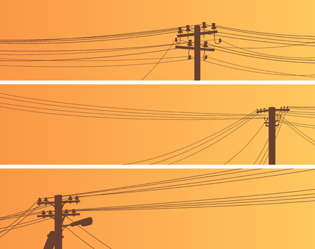 Set of horizontal banners of power line poles with wires on middle voltage transmission (wooden and concrete pillars). Stock Illustratie