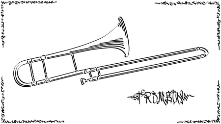 Vector abstract graphic arts sketch of drawing trombone (wind musical instrument ).