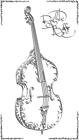 Vector stylized graphic arts sketch of drawing double bass.