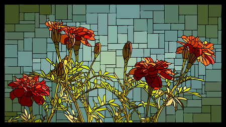 angular mosaic with blooming red marigolds stained-glass window frame.