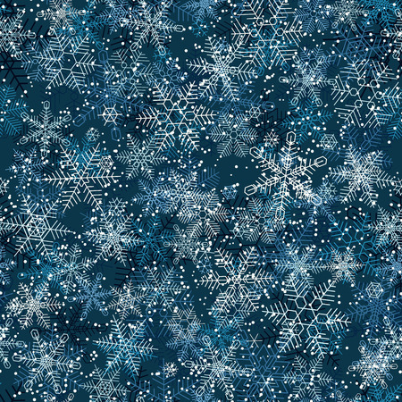 Seamless winter background of night winter and snowflakes snowfall.