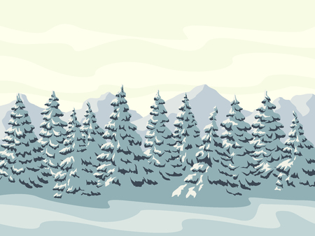 Horizontal vector illustration of snowy spruce trees with mountains. Ilustrace