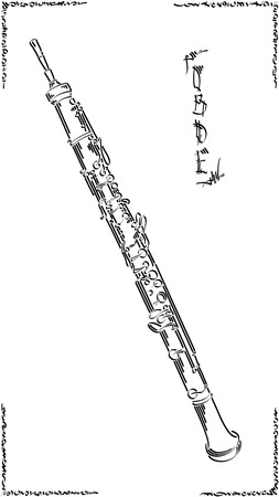 Vector abstract graphic arts sketch of drawing oboe (wind musical instrument ).