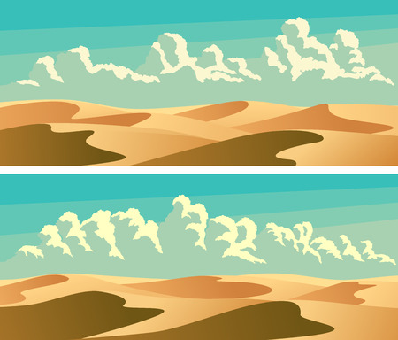 Set of horizontal banners sandy desert barchans (sand dunes) and blue sky with clouds.