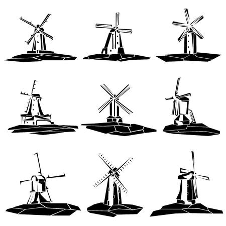 Satz einfache Vektorillustrationen: stilisierte schwarze und weiße Windmühlenabzeichen.