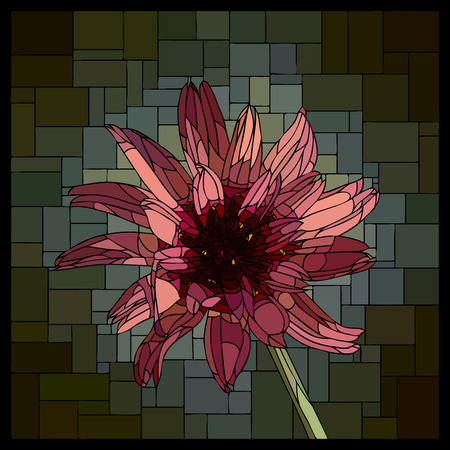 angular mosaic with blooming Catananche stained-glass window frame.