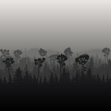 Square illustration of foggy coniferous forest in dark tones.