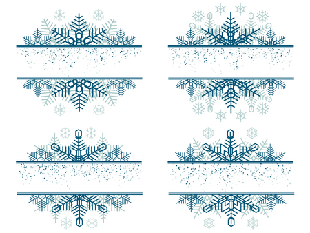 Set of simple blue label decoration from snowflakes with space for title.