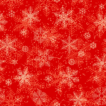 Seamless decoration of snowflakes pattern on red background.