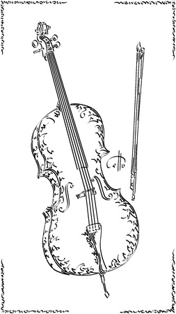 Vector stylized graphic arts sketch of drawing cello.