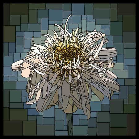 angular mosaic with blooming terry camomile stained-glass window frame.