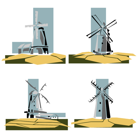 Set of simple illustrations, stylized color windmills badges.