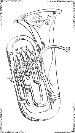 Vector abstract graphic arts sketch of drawing euphonium (wind musical instrument ).