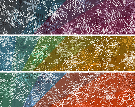 Set of horizontal bright colored banners with snowflakes snowfall.