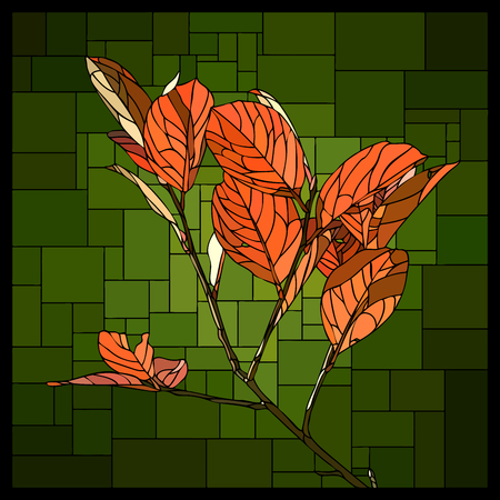 angular mosaic of branch with autumn orange leaves stained-glass window on green. Stock Illustratie