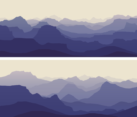 Horizontal banners of vector illustration morning misty rocky low mountains in blue-violet tone. 矢量图像