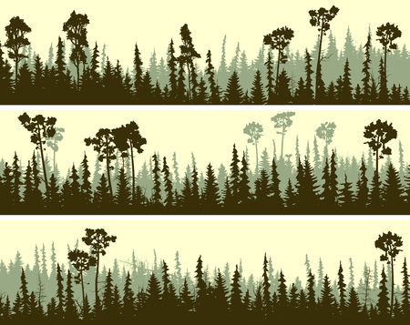 Set of horizontal banners of coniferous forest silhouettes in green tone.