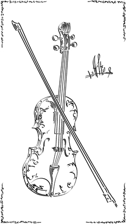 Black and white illustration of stylized (by flat brush stroke) graphic arts sketch of drawing alto with bow (viola). Stock Illustratie