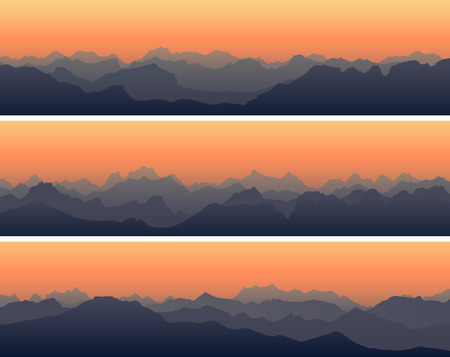 Set of horizontal banners with rocky sharp peaks of high mountains at sunset.