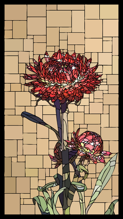 angular mosaic with blooming helichrysum (everlasting) with buds stained-glass window. Stock Illustratie