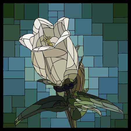 angular mosaic with blooming bell flower (campanula) stained-glass window frame.