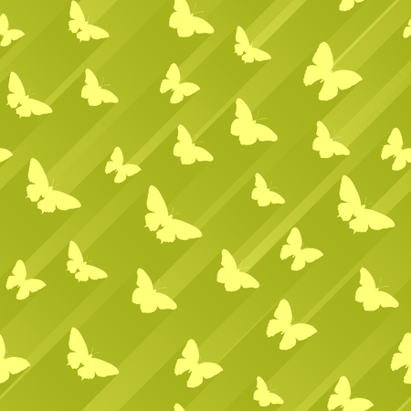 Seamless yellow green abstract background of butterflies with stripes of light behind.