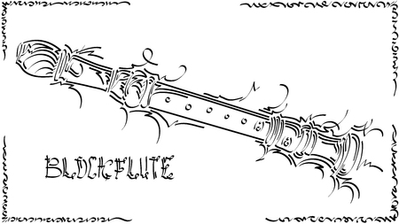 Black and white illustration of stylized (by flat brush stroke) graphic arts sketch of drawing block flute.