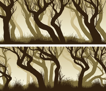 Set of horizontal banners with curved tree trunks of deadwood.