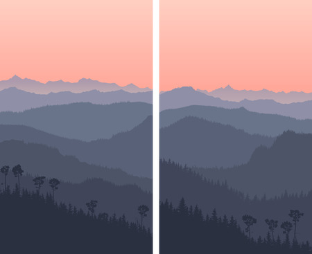 Set of vertical big banners with forest hills and high mountains range with pink sky. Stock Illustratie