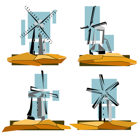 Set of simple illustrations, stylized color windmills badges (4th set). Stock Illustratie