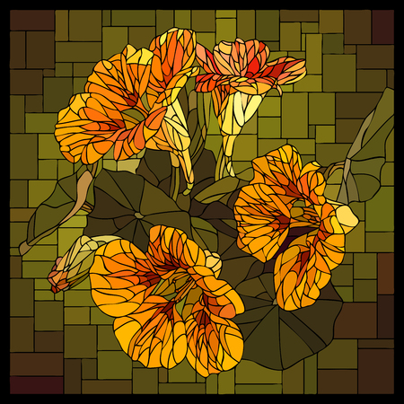 angular mosaic with blooming orange nasturtium with buds stained-glass window. Stock Illustratie