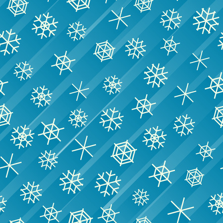 Seamless blue abstract background of snowflakes with stripes of light behind.