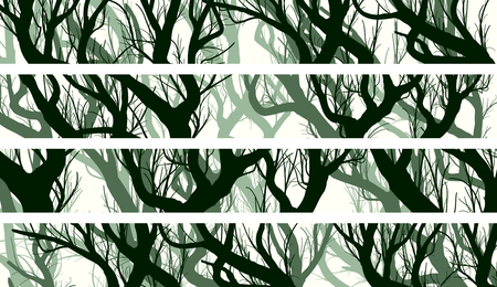 Set of horizontal banners of curved tree trunks with branches of deadwood forest.