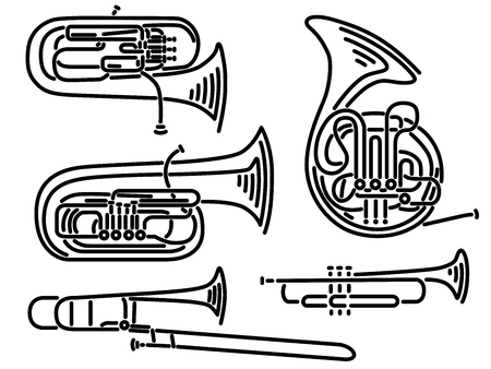 Set of simple brass wind musical instruments trumpet ,tuba, trombone, euphonium, French horn drawn by lines.