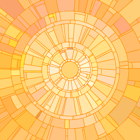 Mosaic illustration of sun with yellow light stained glass window.