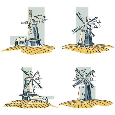 Set of simple stylized by line color windmills badges. Stock Illustratie