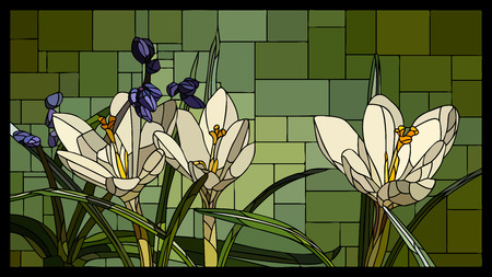 angular mosaic with blooming white crocuses with leaf stained-glass window. Stock Illustratie