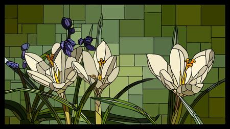mosaico angolare con crochi bianchi in fiore con vetrata a foglia.