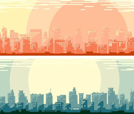 Set of horizontal banners of simple stylized big city with downtown and skyscrapers (morning and night). Ilustração