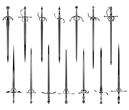 Set of simple monochrome images of rapiers and epees.