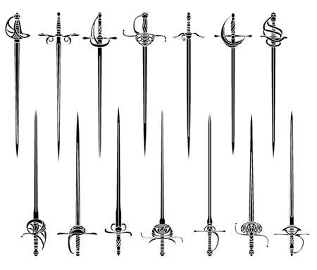 Ensemble d'images monochromes simples d'épées et de rapières. Vecteurs