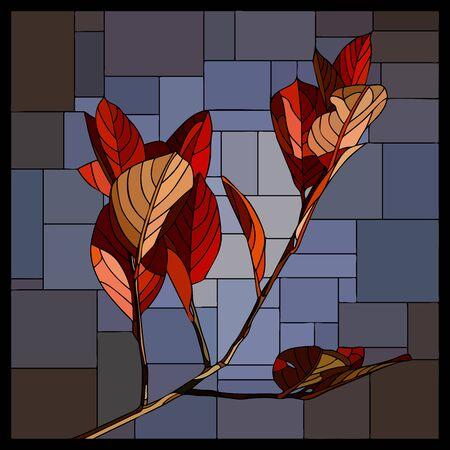 stained-glass window mosaic of branch with autumn red leaves on blue.