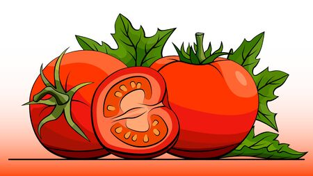 simple illustration group of red tomatoes with half on line (side view). Ilustração