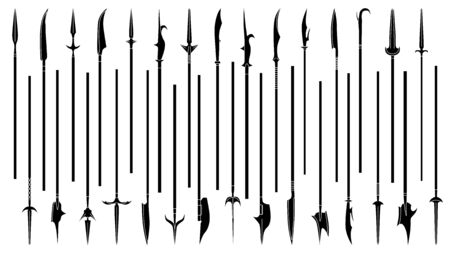 Set of simple monochrome images of spears and halberds. Ilustração