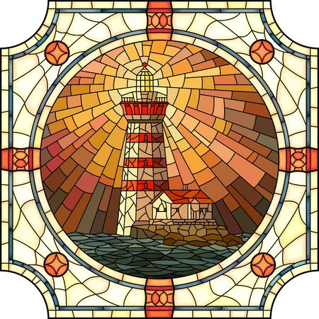 mosaic with large cells of lighthouse with rays of light at sunset in round stained-glass window frame.