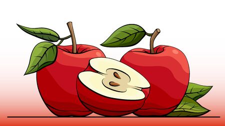 simple illustration group of red apples with half on line (side view). Ilustração