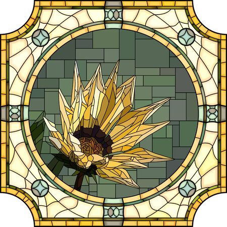mosaic with large cells of blooming yellow gazania in round stained-glass window frame. Ilustração