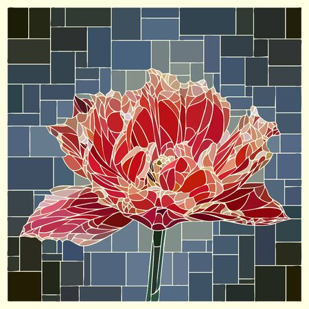 angular mosaic with blooming red velvet tulip stained-glass window frame. Ilustração
