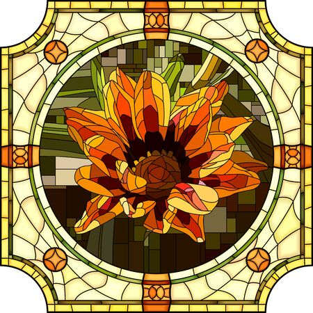 mosaic with large cells of blooming orange gazania in round stained-glass window frame. Illustration